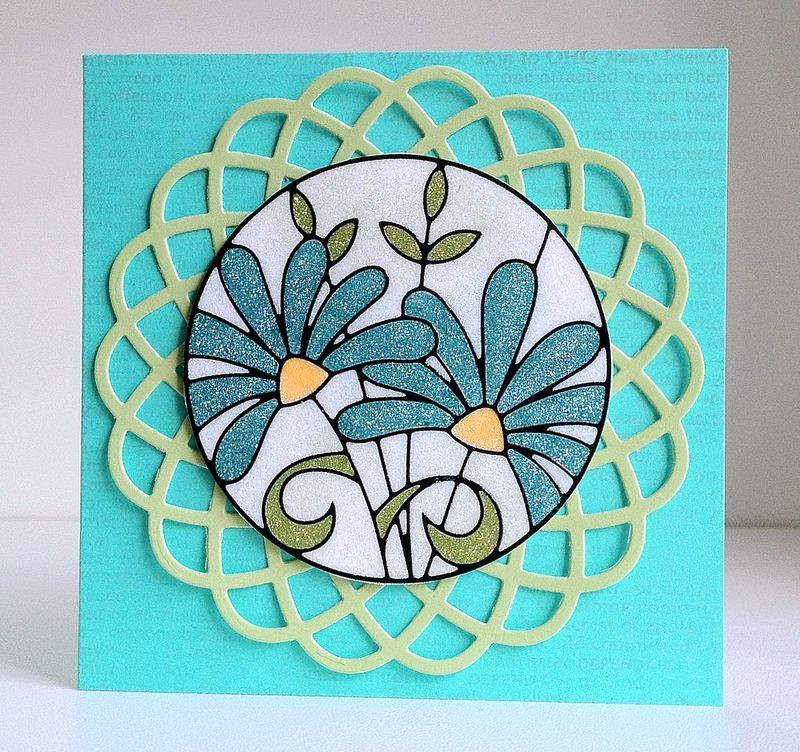 Blue flower glitter card