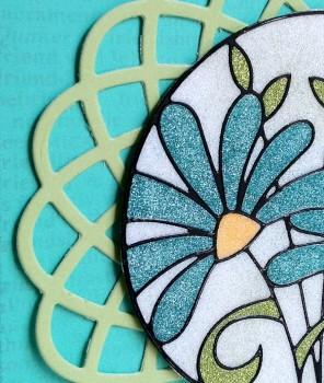 Blue flower glitter card close up