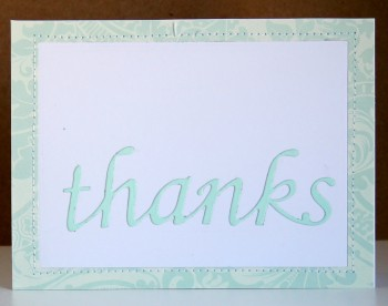 Blue thank you frame card