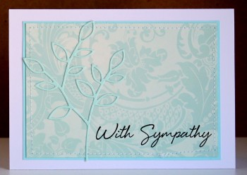 With sympathy blue card