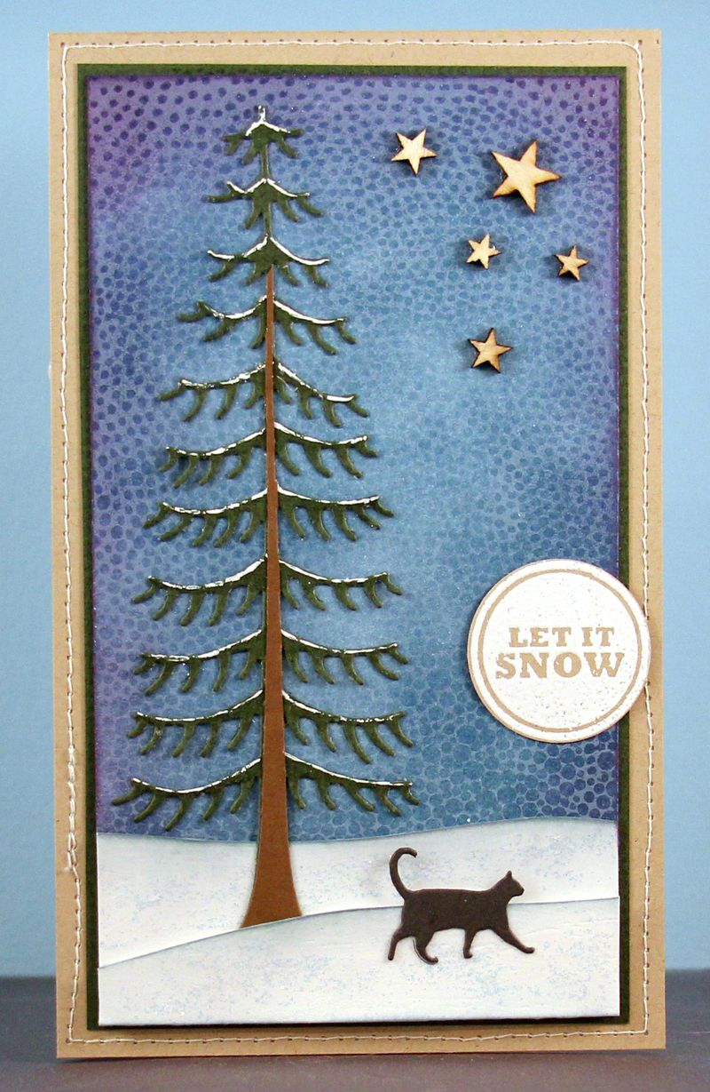 Let it snow pine tree card