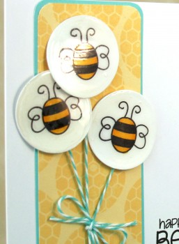 Happy Bee Day balloon card close up lower res