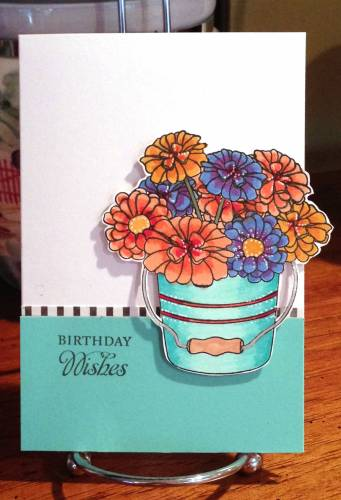 Birthday wishes flowers in bucket card lower res