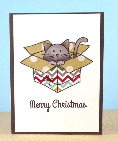 Boxed Cat Christmas Cards.This Little Card Of Mine Merry Christmas Kitty In A Box Card