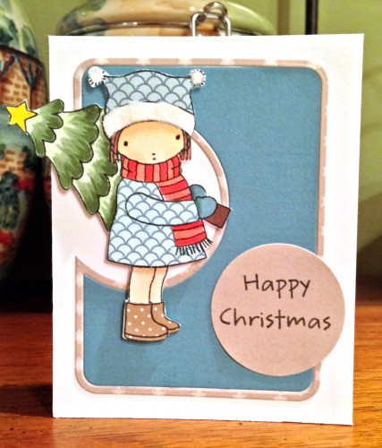 Happy Christmas girl with tree card 2 lower res