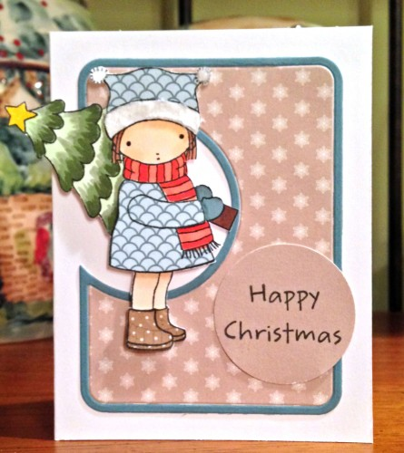 Happy Christmas girl with tree card 1 lower res
