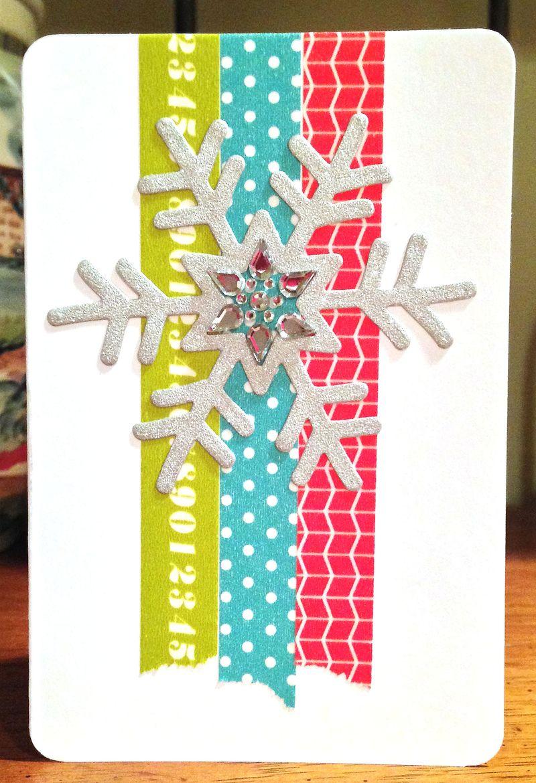 Glittery snowflake washi card