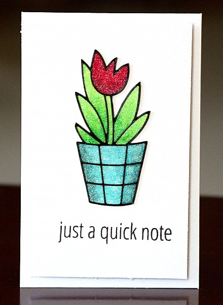 Just a quick note glitter flower card lower res