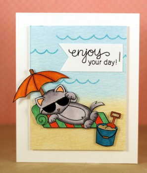 Enjoy your day cat on the beach card lower res