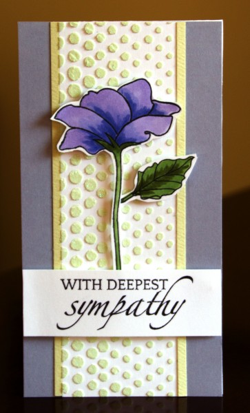 Deepest Sympathy purple flower card lower res