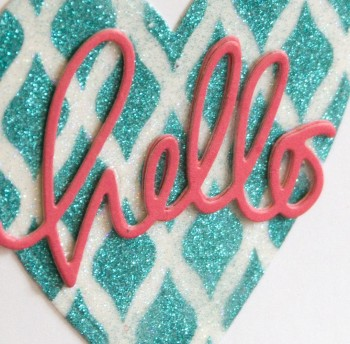 Hello glitter heart card close up lower res