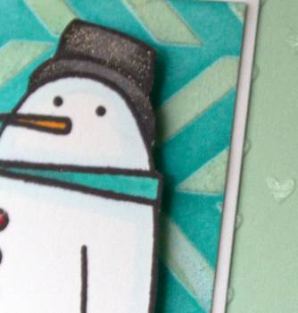 Hugs snowman card close up lower res