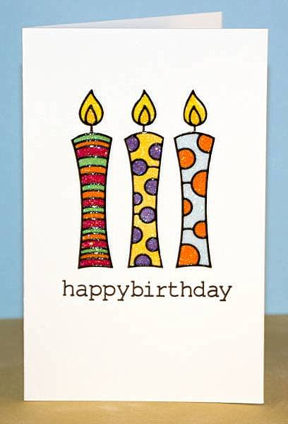 Happy Birthday glitter candle card 1 lower res