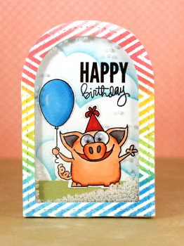 Birthday pig shaker card lower res