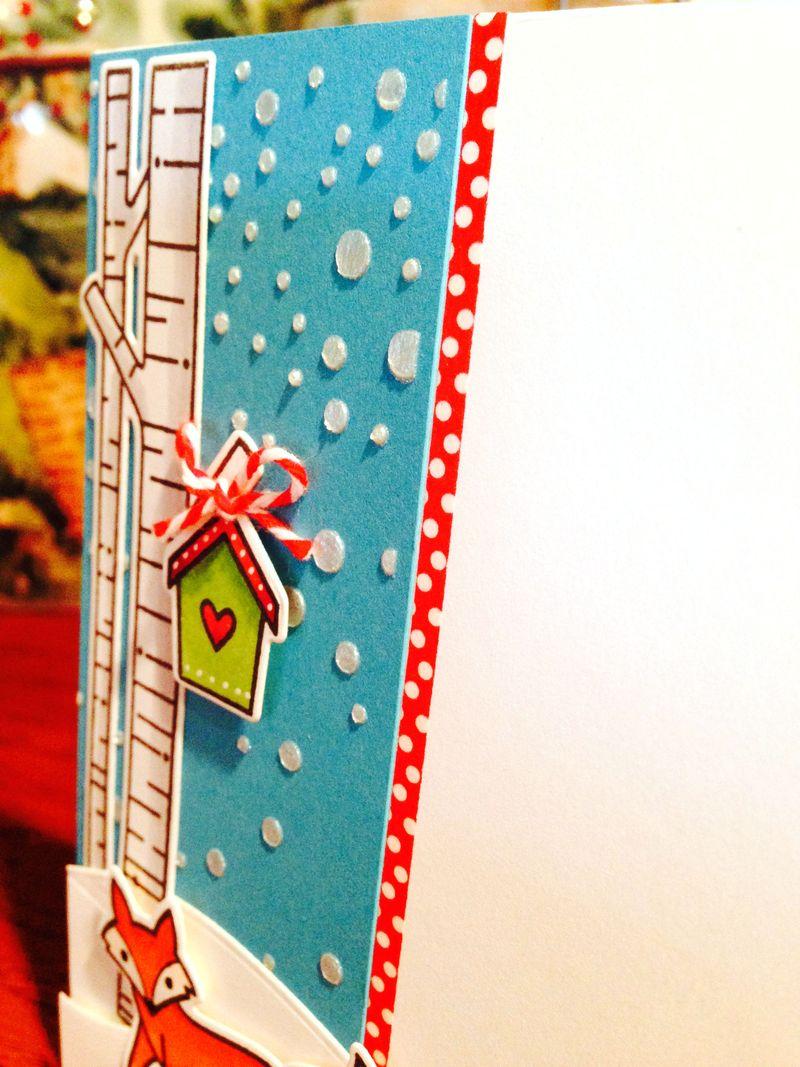 Lawn Fawn fox Christmas card close up