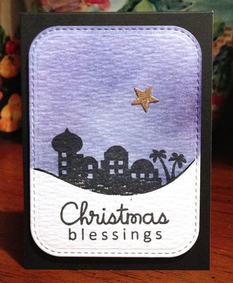 Christmas Blessings Distress ink card