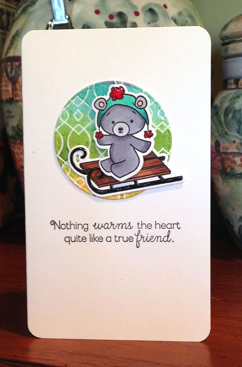 Bear on sled friendship card
