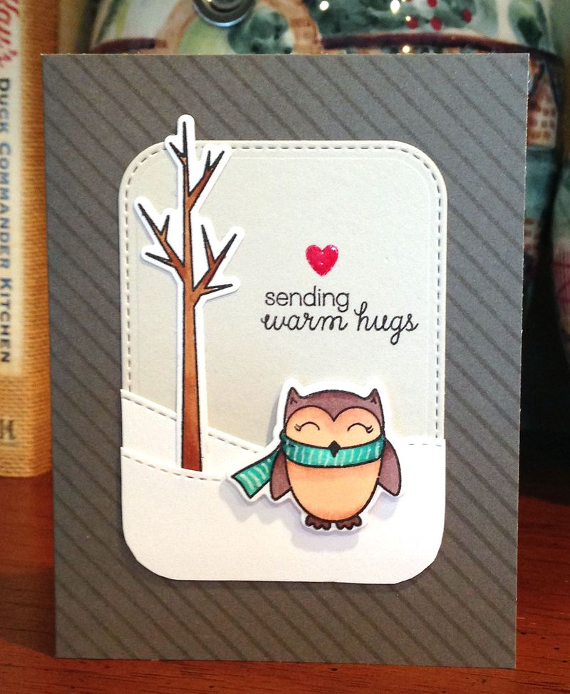 Sending warm hugs penguin card