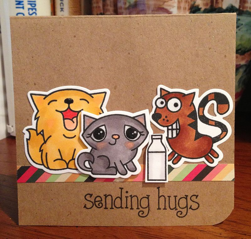 Sending hugs three kitties card