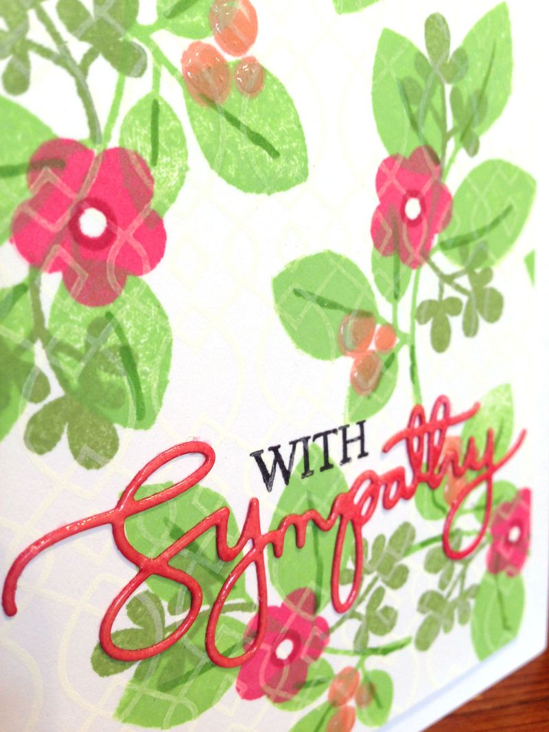 With Sympathy stamped flowers card close up
