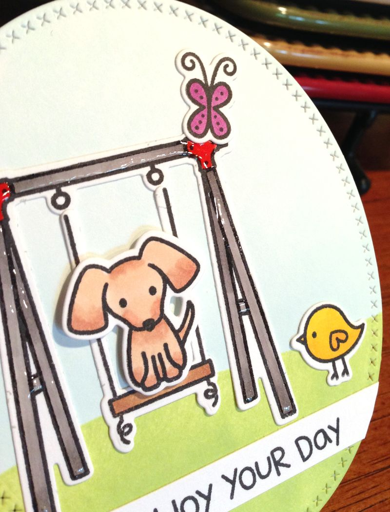 Lawn Fawn swingset card close up
