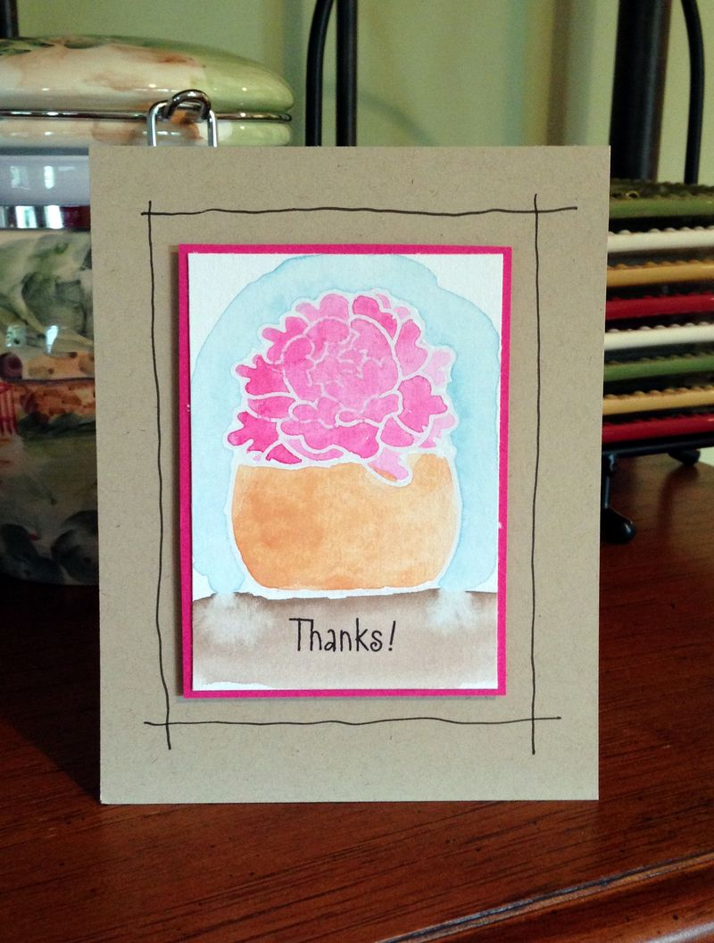 Thanks watercolor flowers card