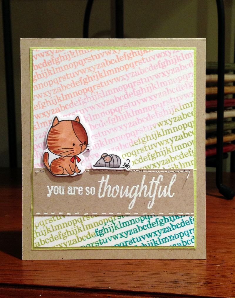 Thoughtful cat and tiny alphabet card