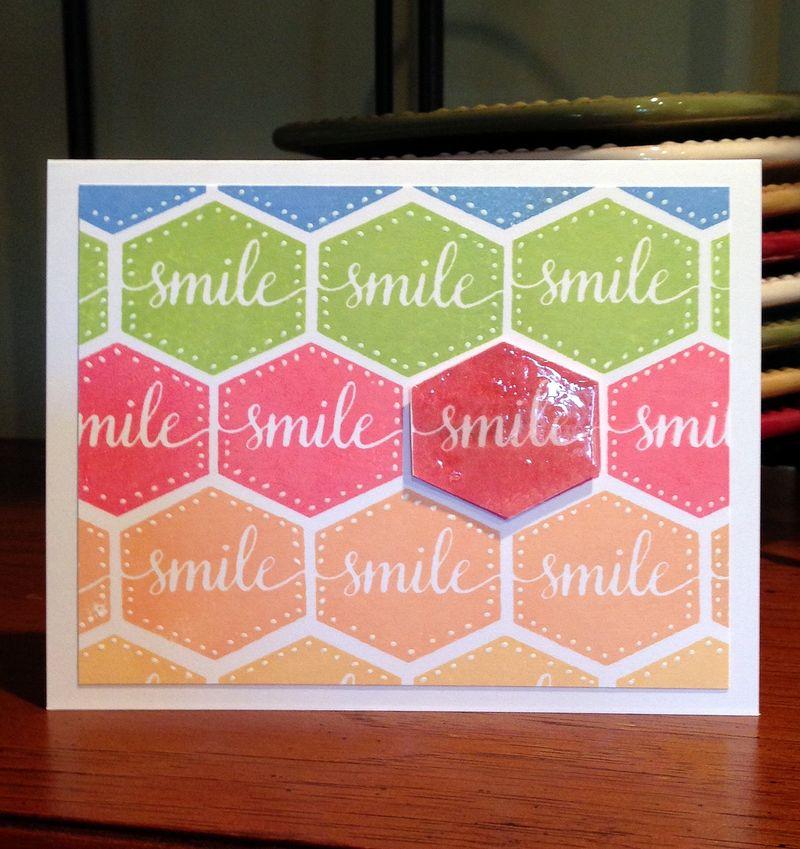 Smile hexagons stamptember card