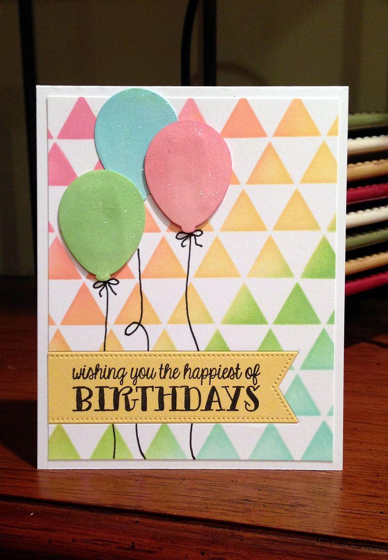 Triangle background balloon birthday card