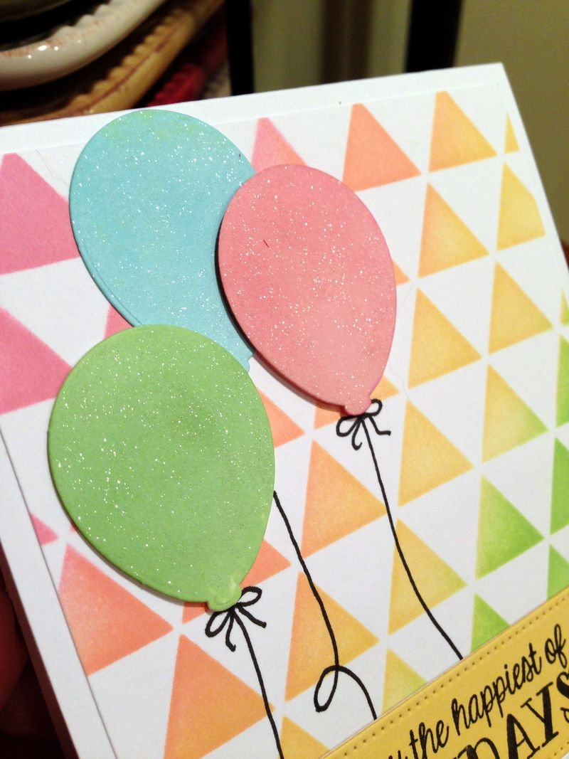 Triangle background balloon birthday card close up