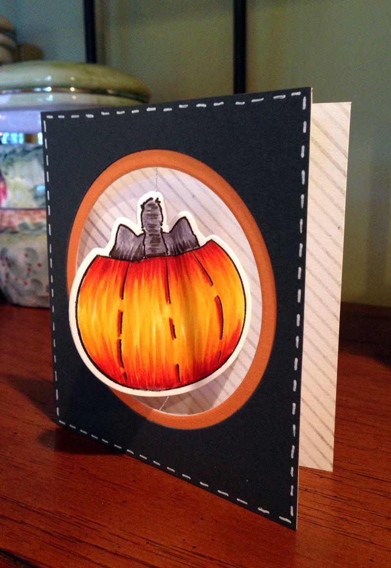 Pumpkin spinner card back of pumpkin