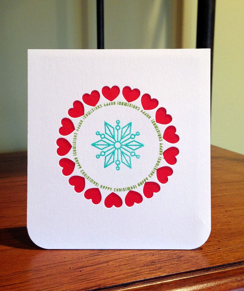 Heart circle card red