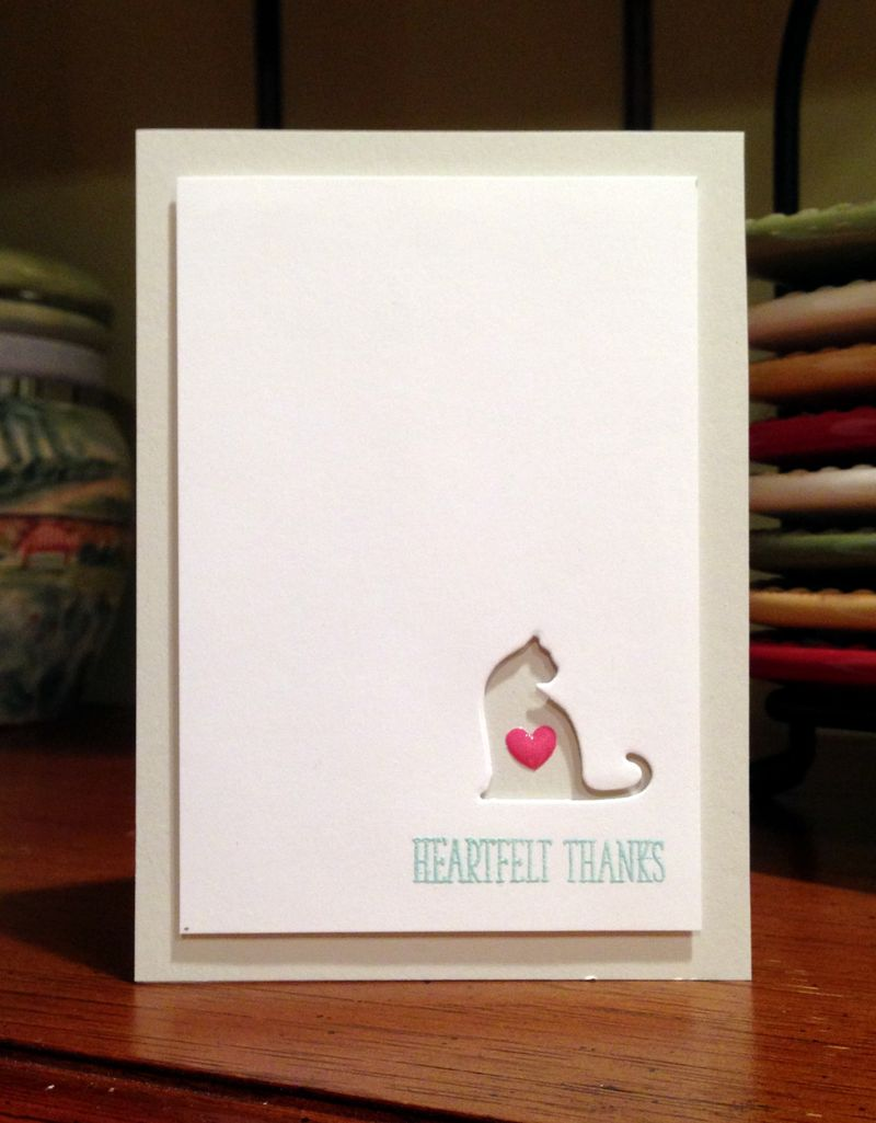 Heartfelt thanks cat card