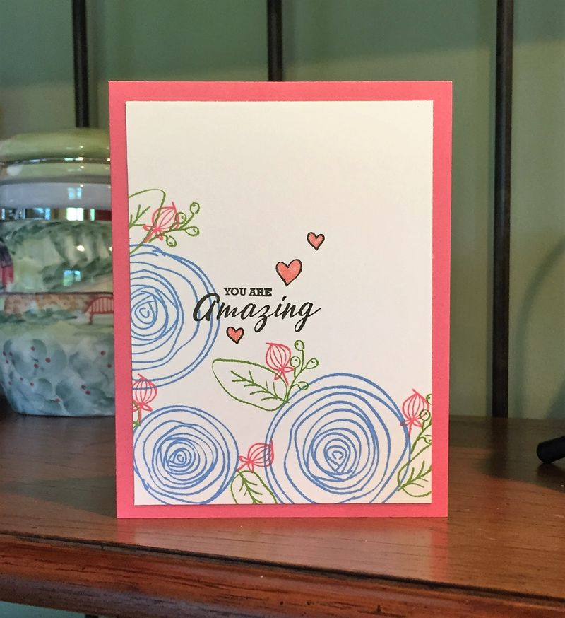 You are amazing card with colored flowers