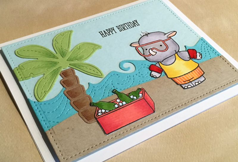 Hippo birthday card close up