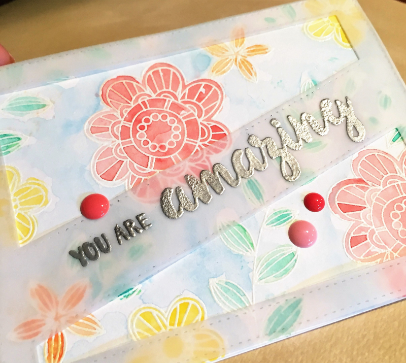 You are amazing watercolor card close up