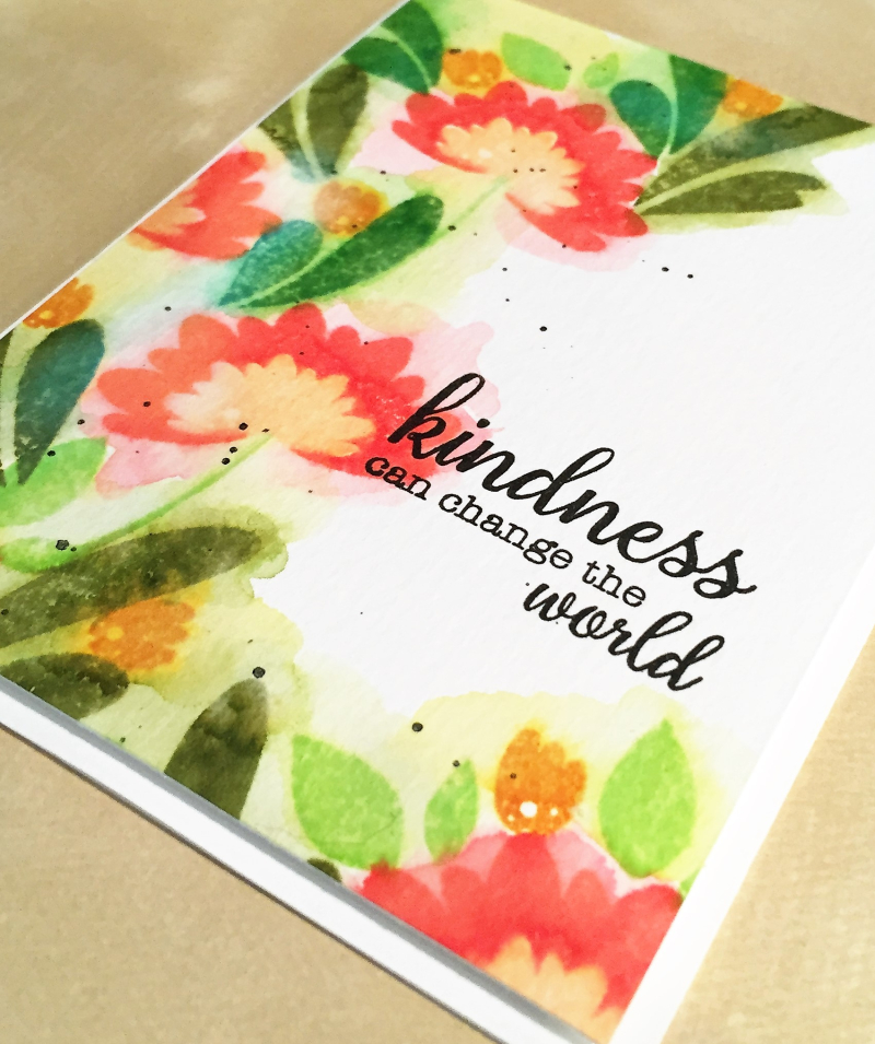Kindness watercolor card close up