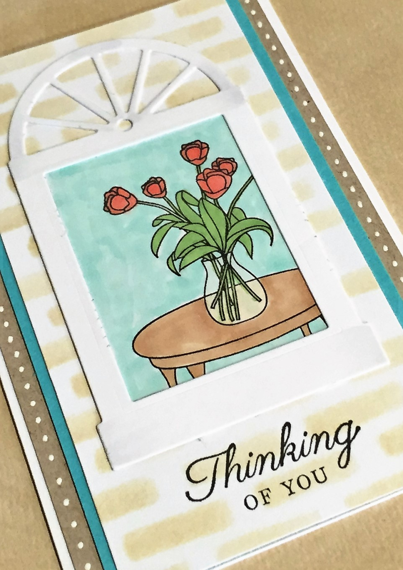Thinking of you window scene card close up