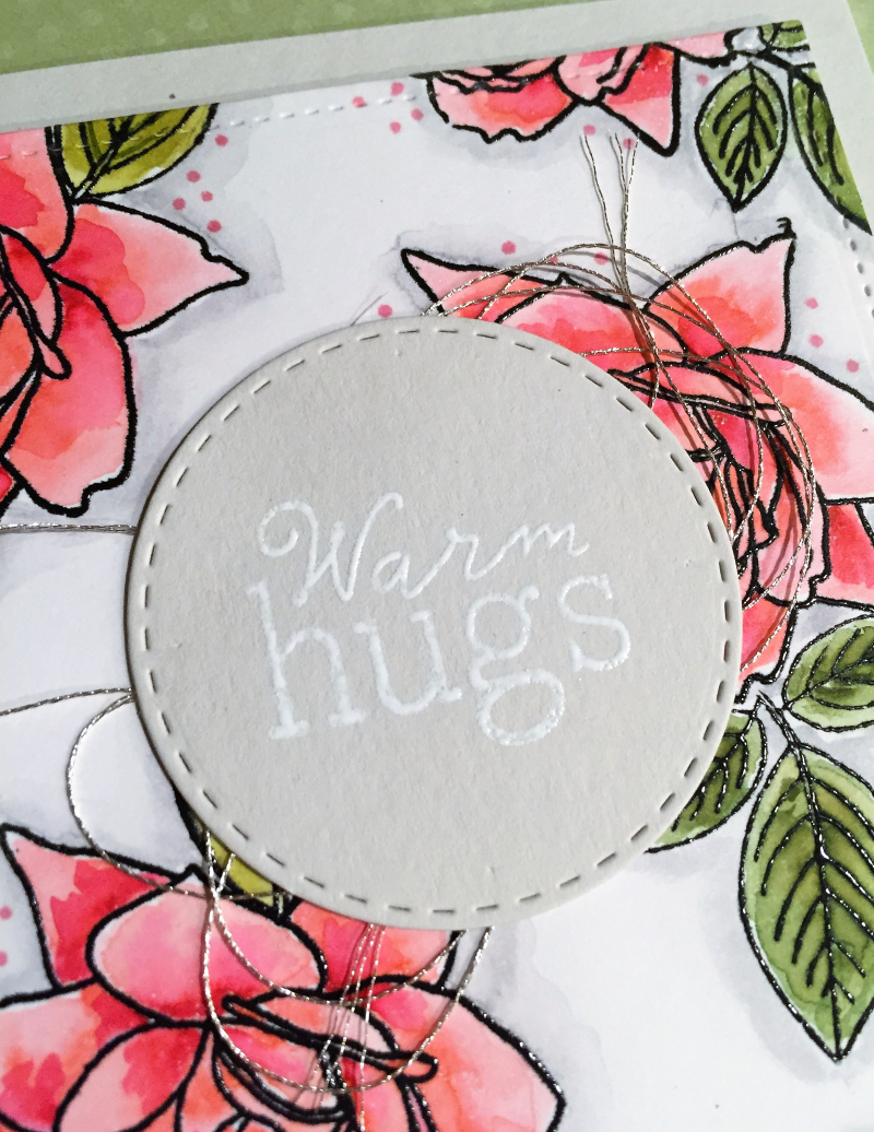 Warm hugs card close up