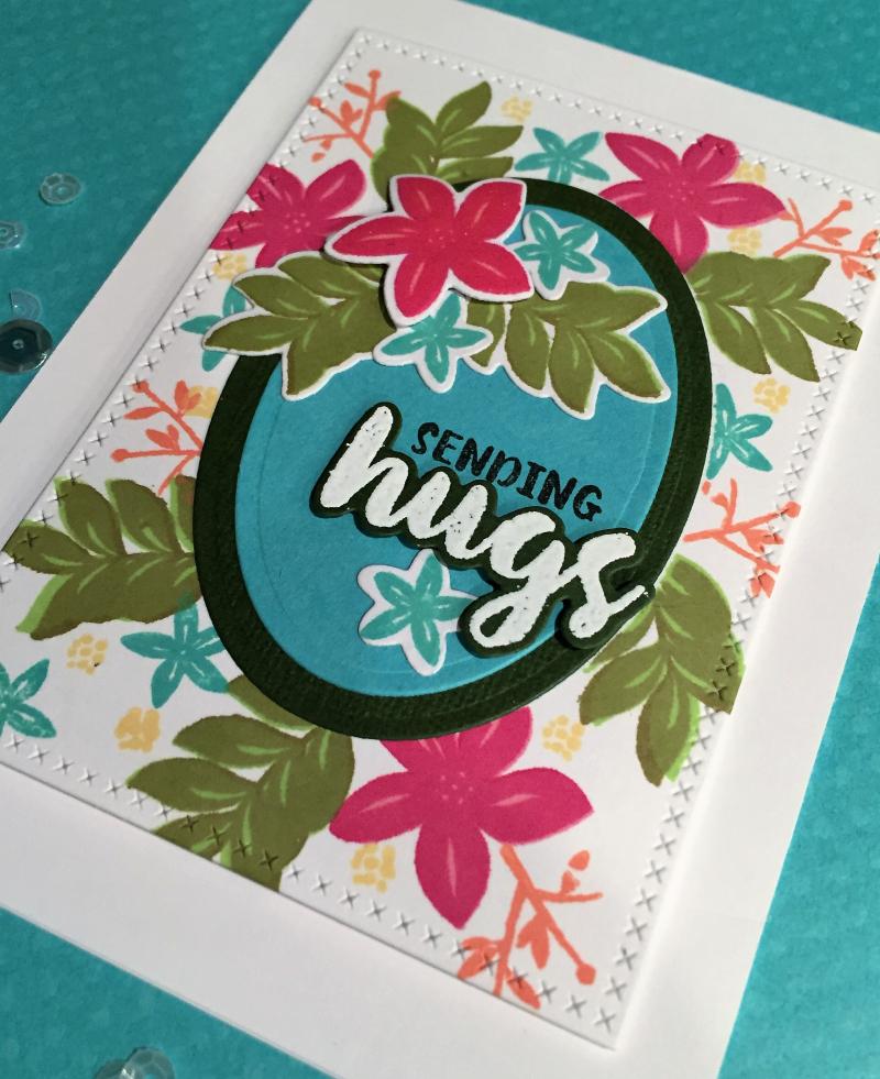 Sending hugs Wplus9 floral card