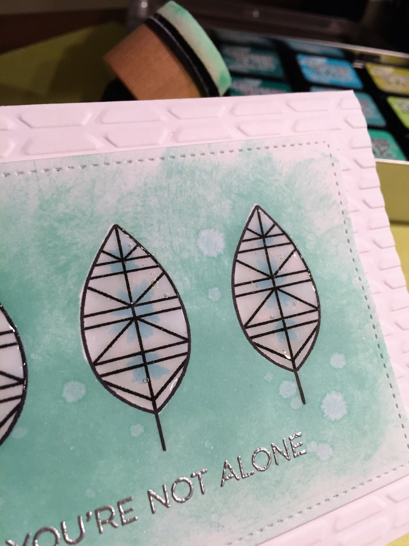 Geometric leaves card close up