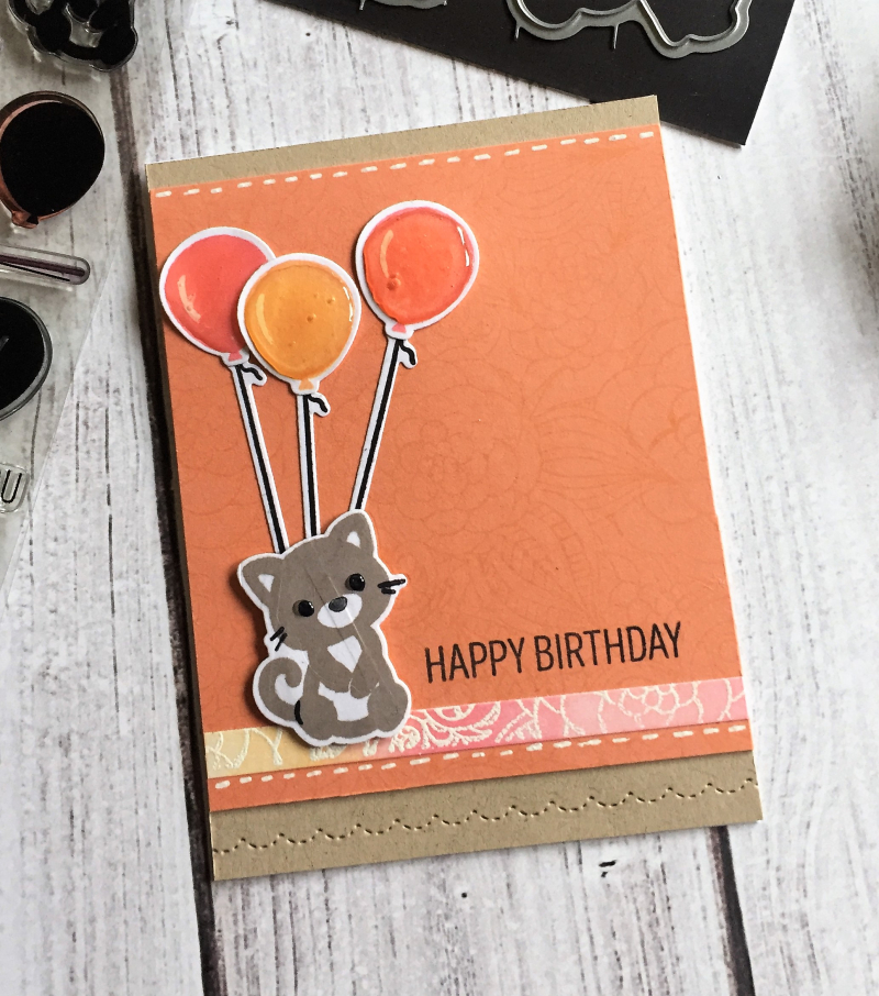 Kitty orange balloon card