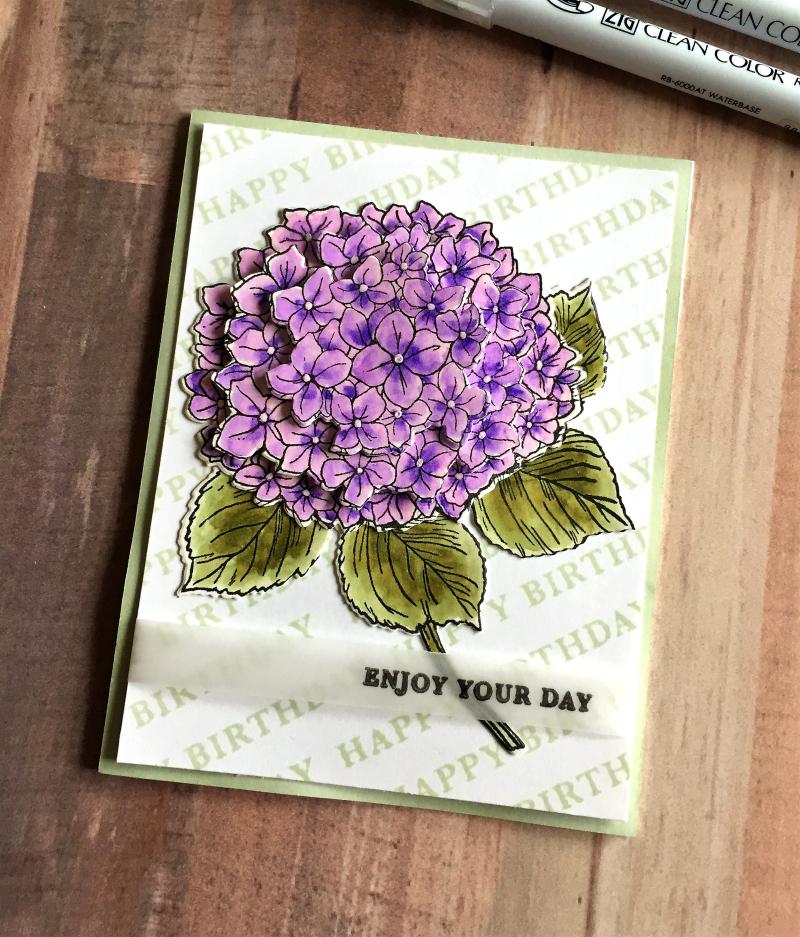 Blog hop hydrangea card