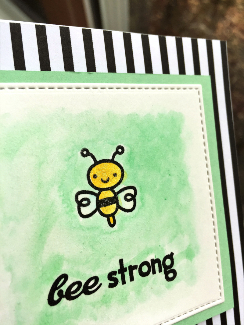 Bee Strong card close up