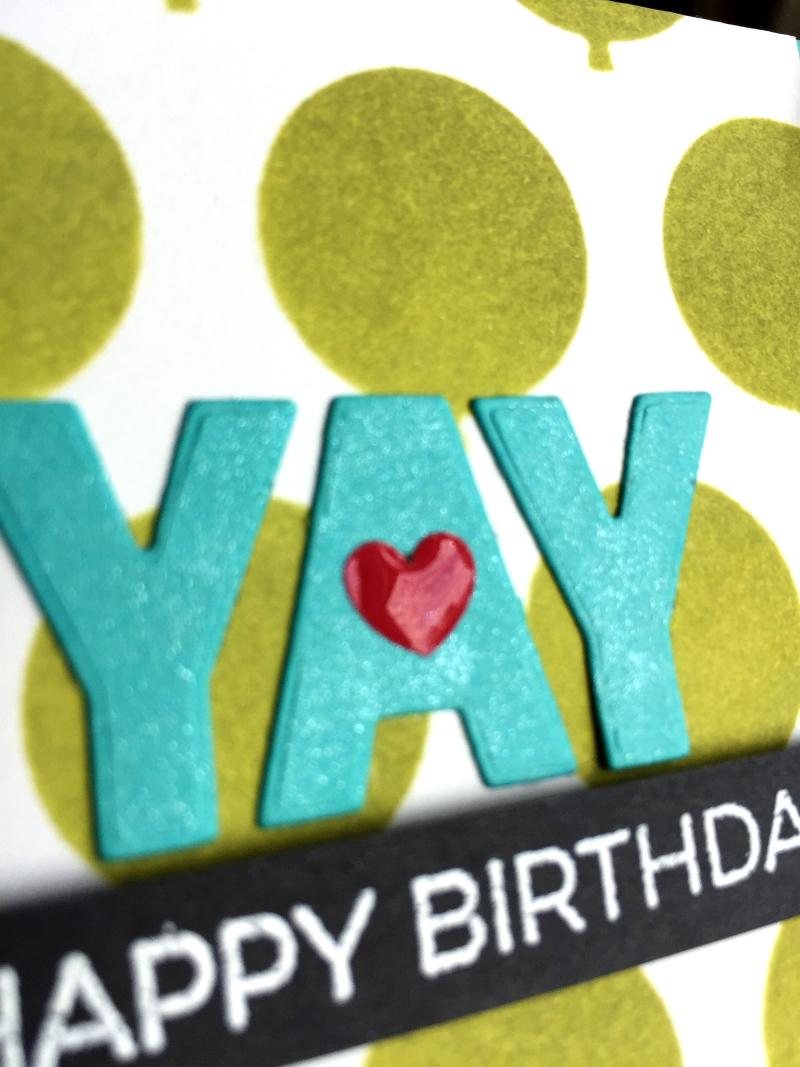 Balloons birthday card close up