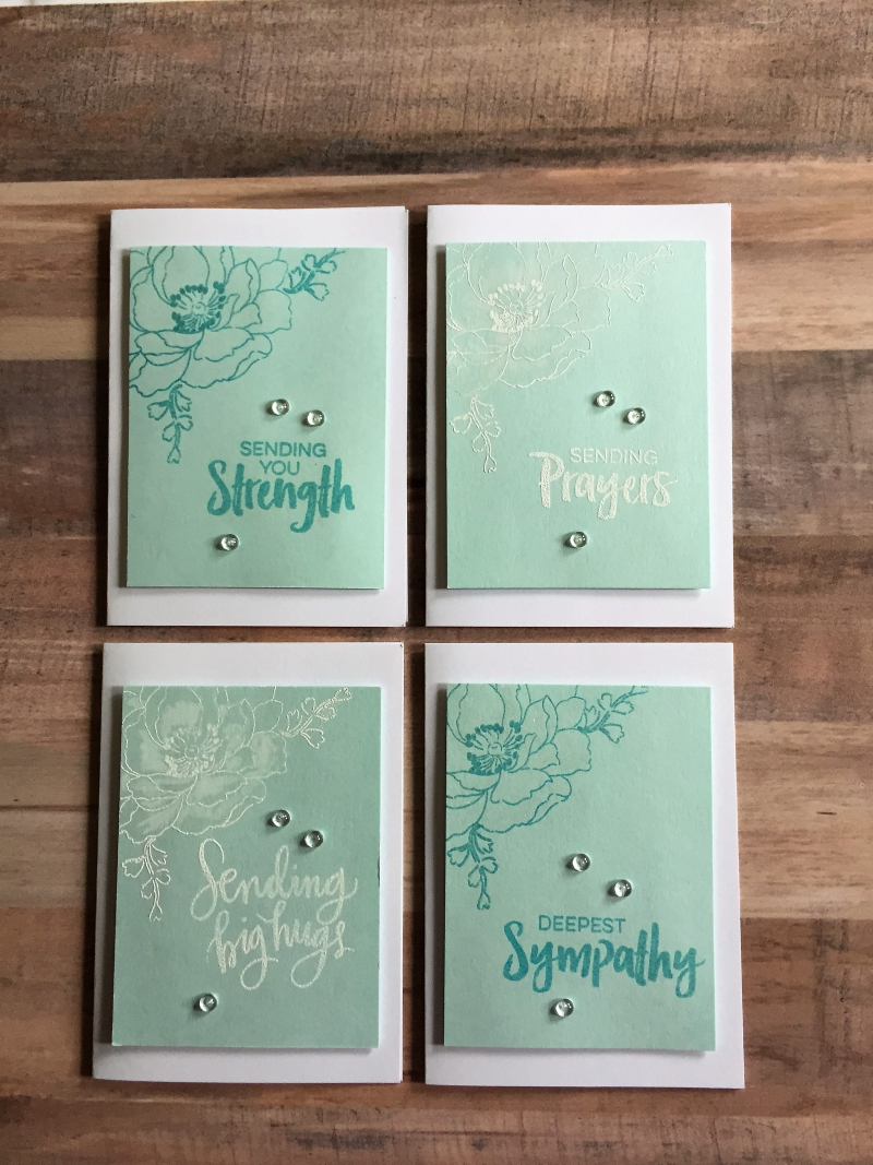 Blue sympathy cards four