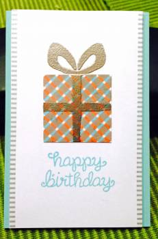 Plaid present birthday card