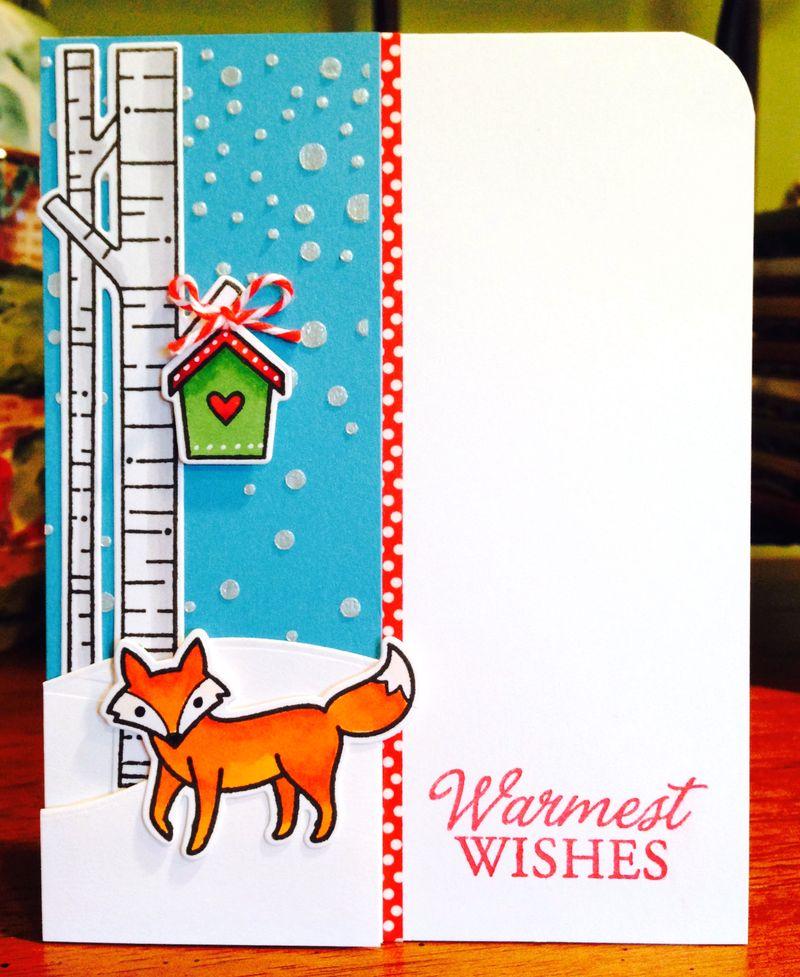 Lawn Fawn fox Christmas card