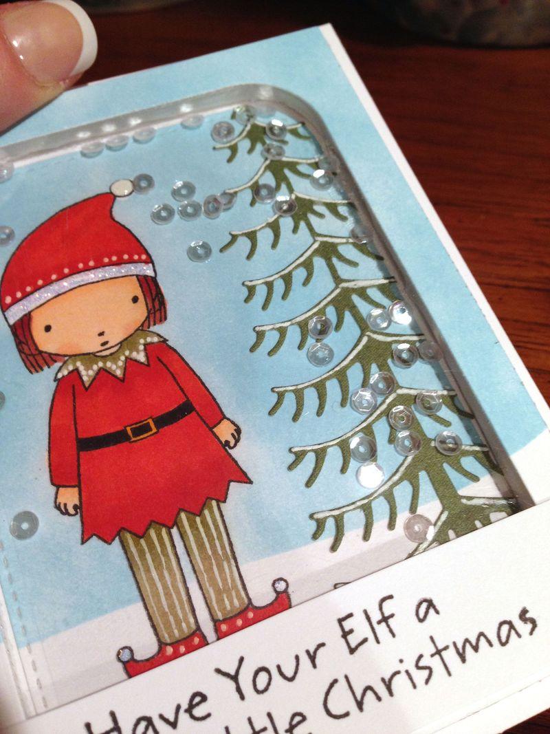 Elf girl Christmas card close up
