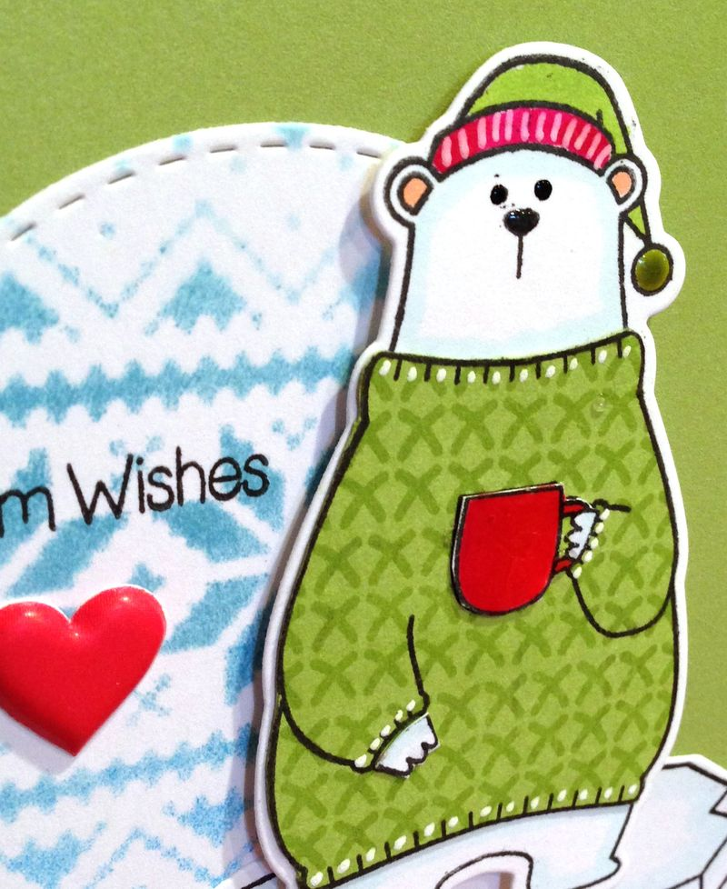 Warm Wishes polar bear card close up
